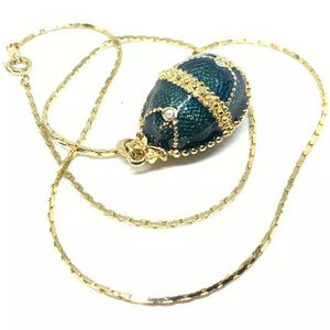 fancy vintage green enamel rhinestone egg necklace